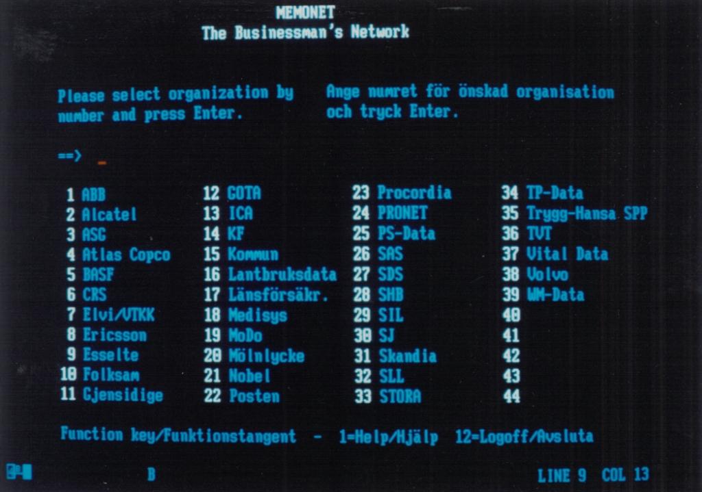 Screenshot von der Memonet-Benutzeroberfläche. (Screenshots waren damals abfotografierte Monitorihalte.)