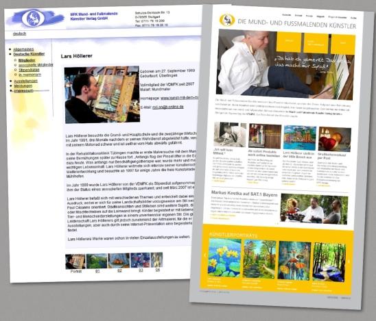 Links eine Seite der alten Website, rechts die neue Startseite.
